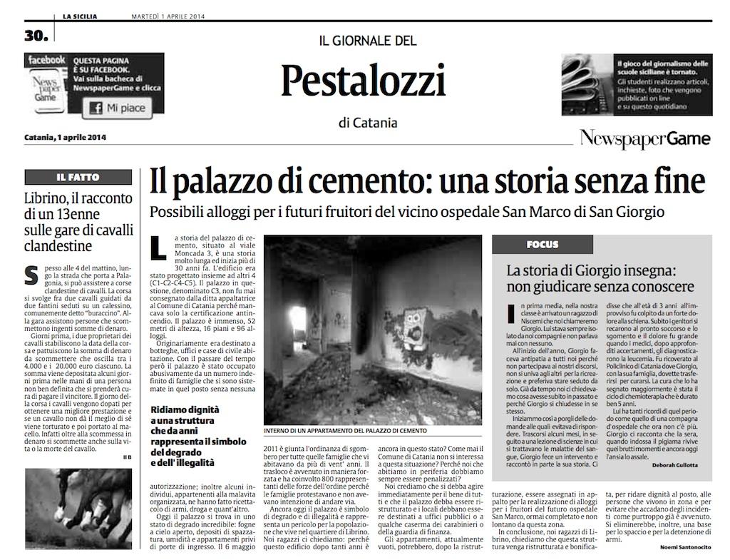 La pagina della Pestalozzi su La Sicilia per il NewspaperGame
