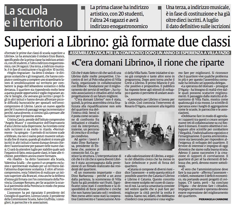 La Sicilia 17 aprile 2015 Superiori a Librino - già formate due classi