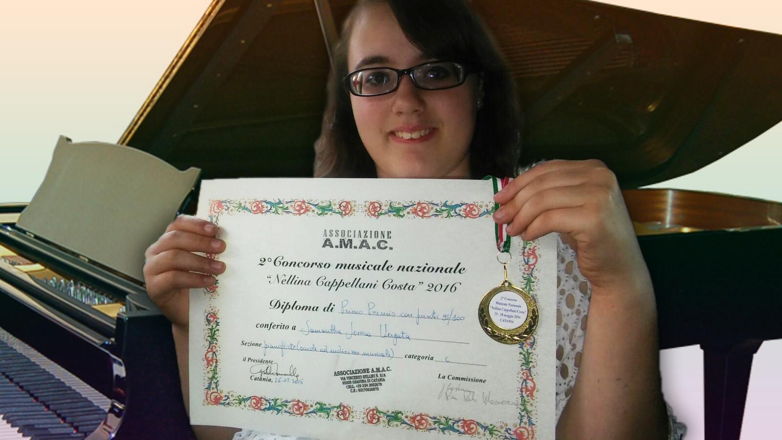 Samantha Vergata primo premio pianoforte