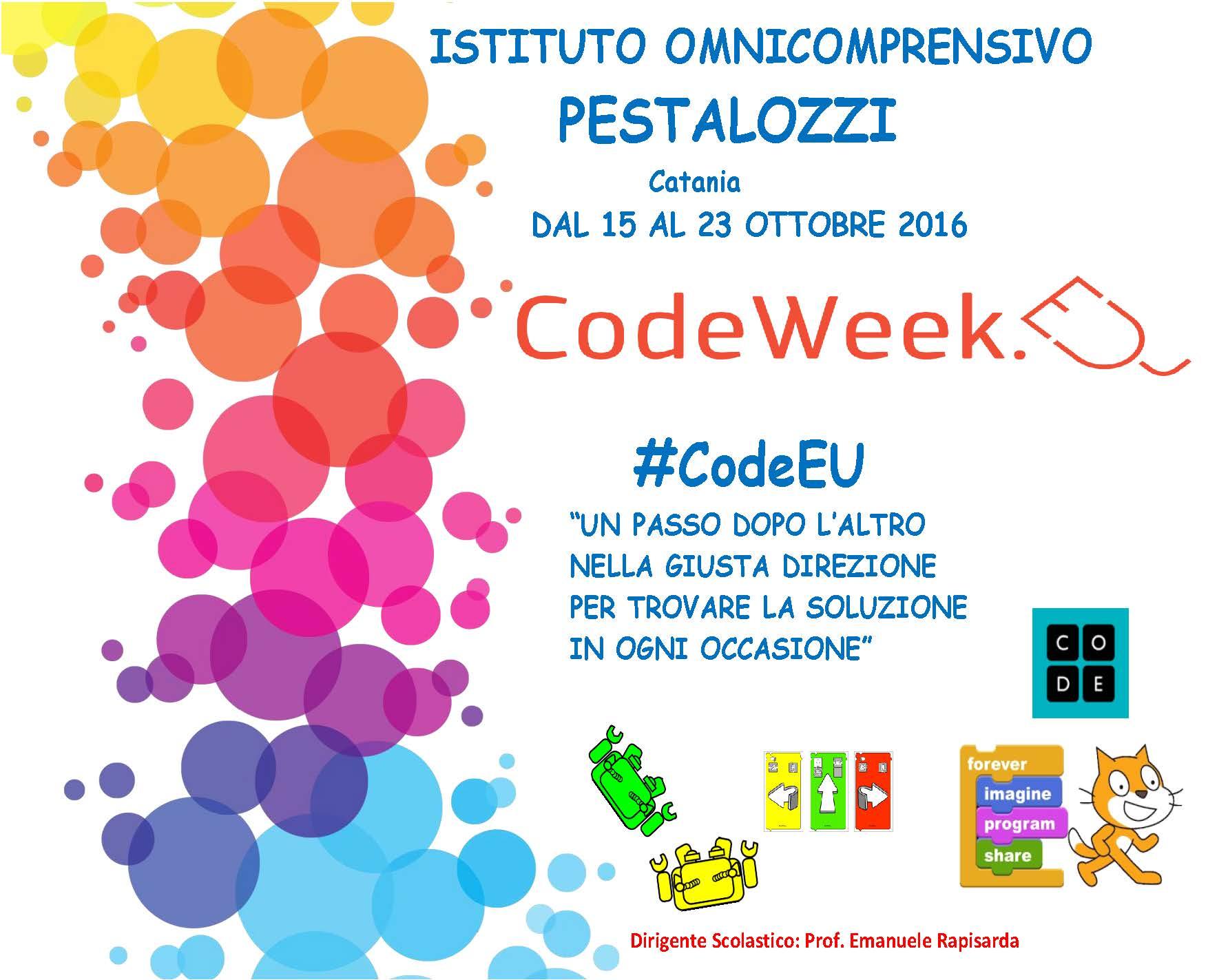 Locandina CodeWeek Pestalozzi 15-23 ottobre 2016