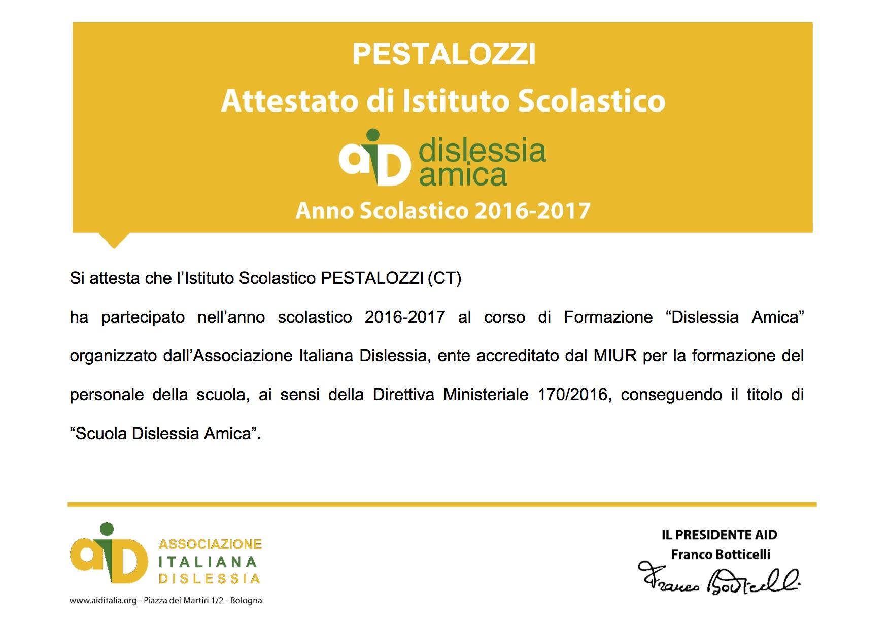 Attestato partecipazione Dislessia Amica_Pestalozzi