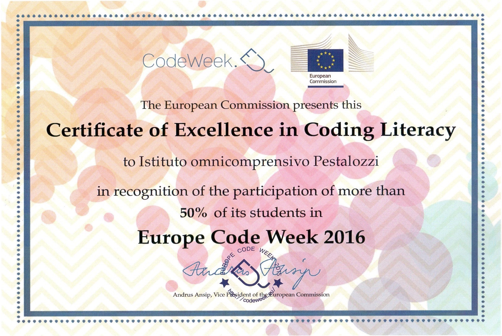 Excellence in Coding Literacy - Pestalozzi