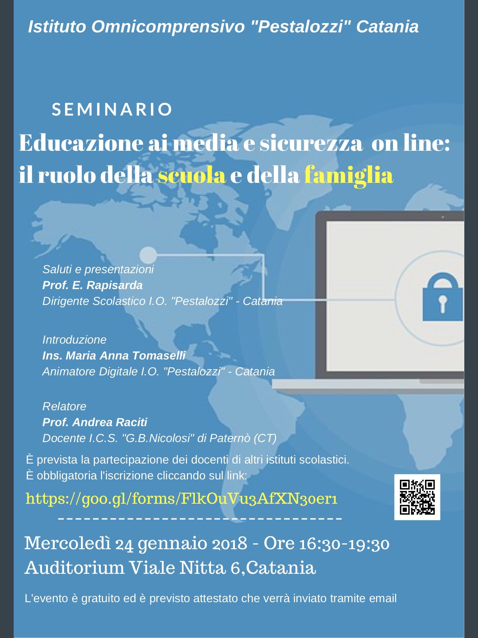 Locandina seminario Educazione ai media e sicurezza on line: il ruolo della scuola e della famiglia